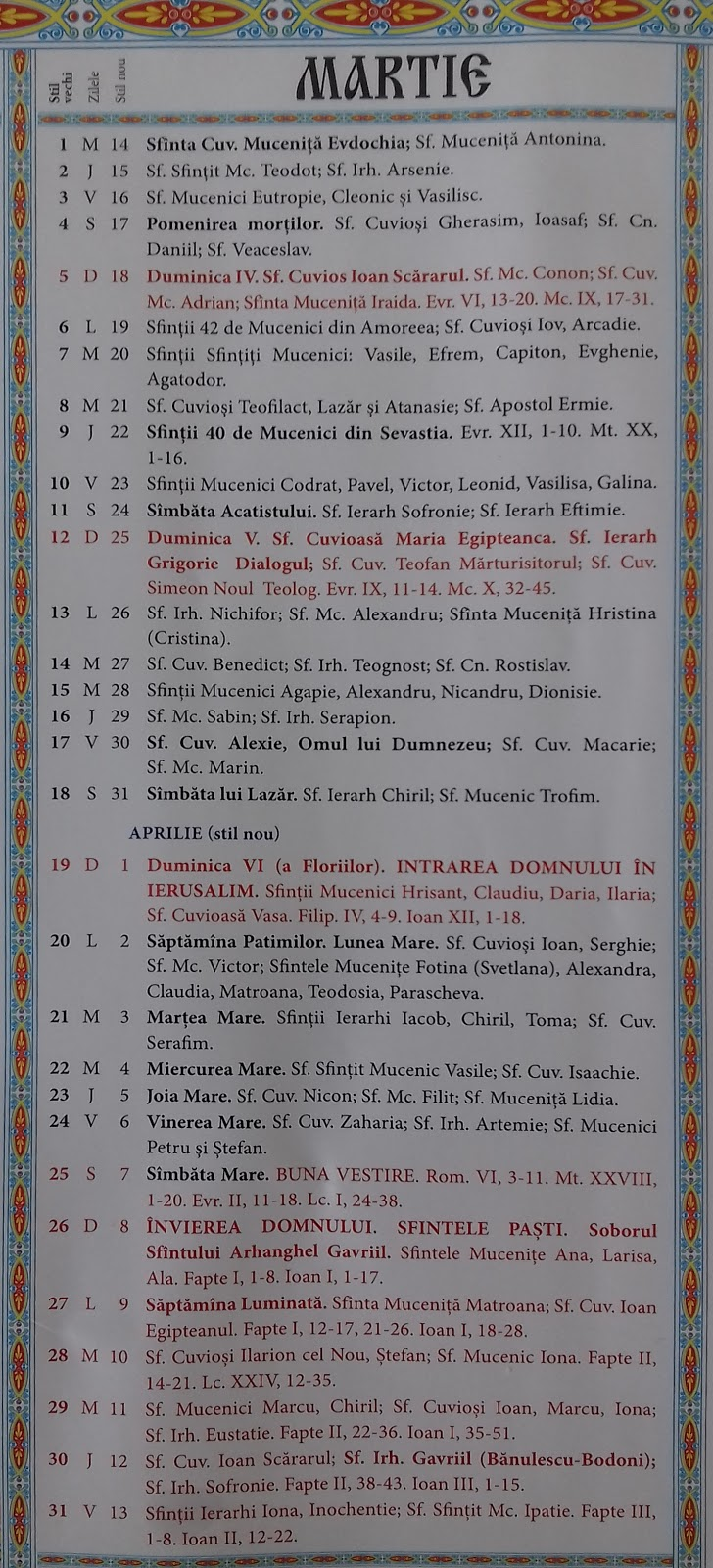 calendar ortodox 2019 aprilie