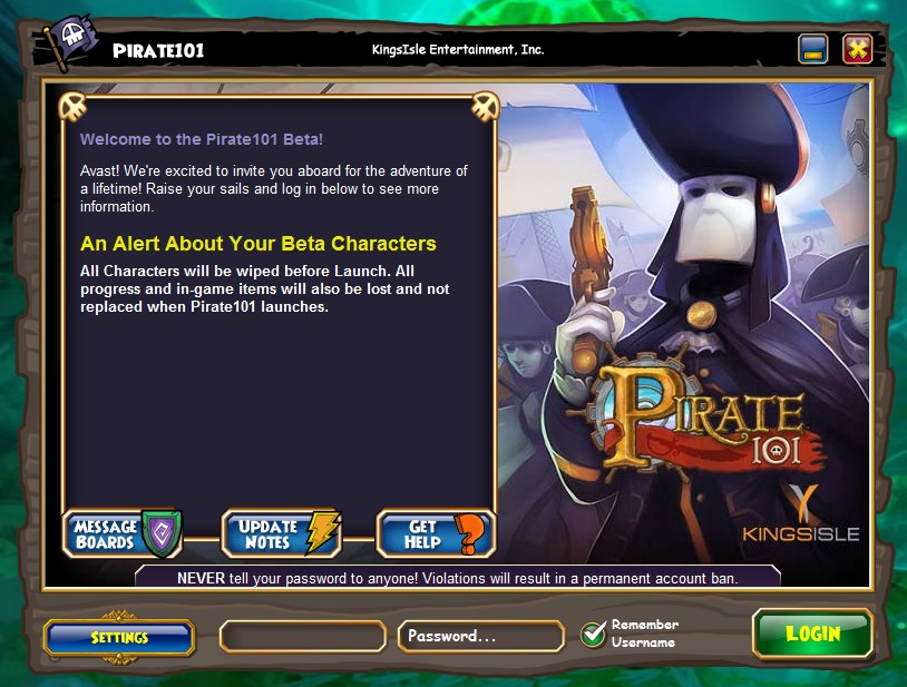 Pirate101 Log In & Loading Screen - Stars of the Spiral