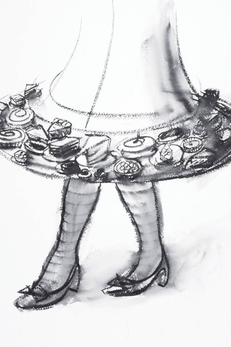 Dessert skirt, ink on paper, Will Cotton