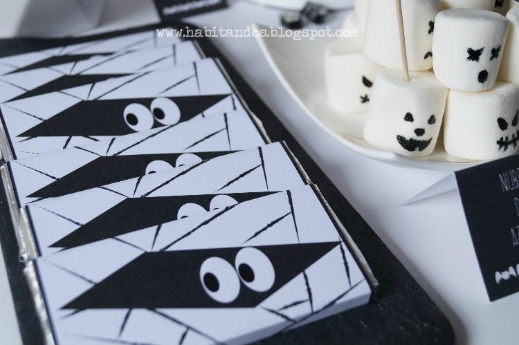 Chocolatinas personalizadas para Halloween diseño de Habitan2, decoración handmade para hogar y eventos