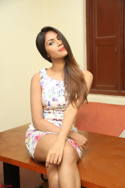 Nishi Ganda stunning cute in Flower Print short dress at Tick Tack Movie Press Meet March 2017 001.JPG