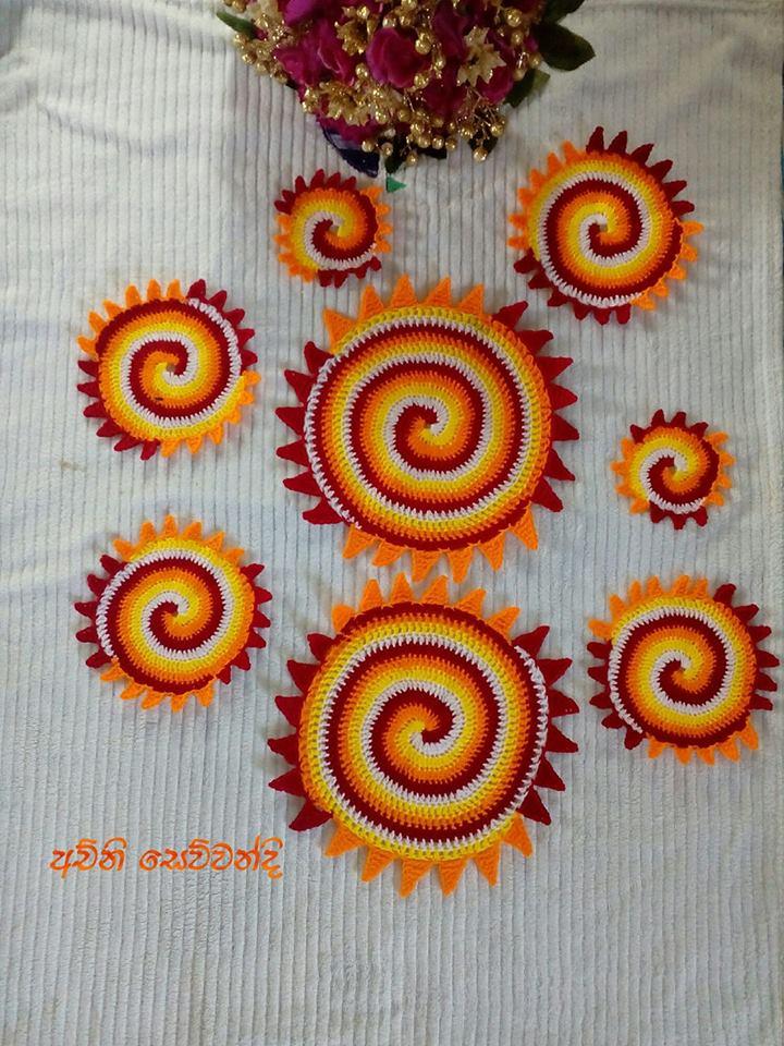 crochet-table-mat-orange-color-yarn-wool