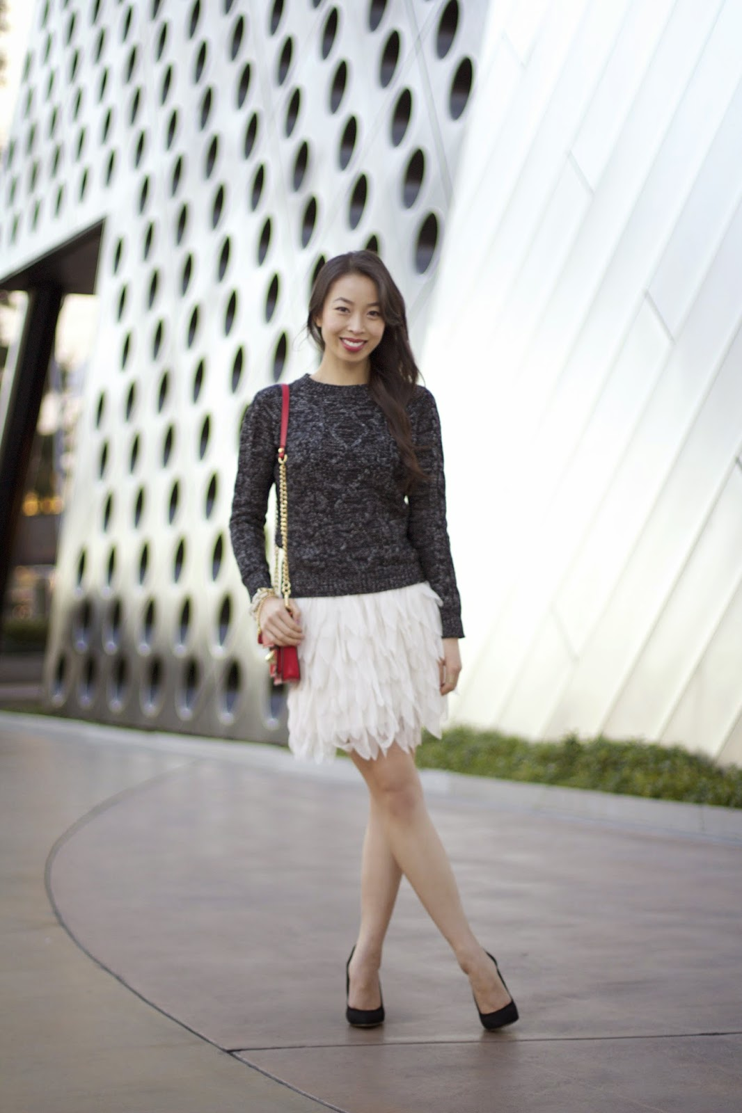 a0fd2108ca Feather Skirt & Hints of Red