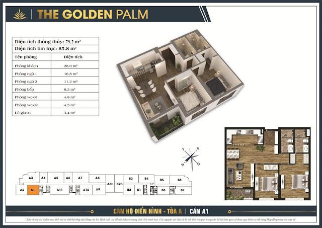 Mặt bằng căn A1 tòa A chung cư The Golden Palm