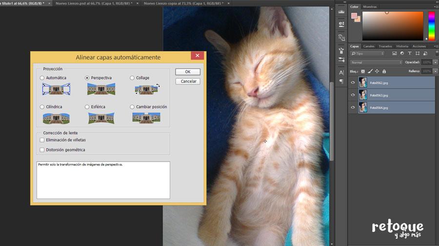Cómo alinear capas automáticamente en Photoshop