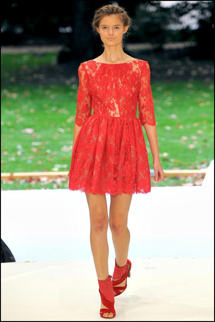 abito corto rosso ricami erdem