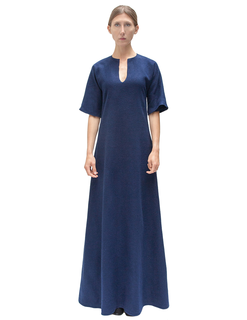navy gown, navy maxi dress, couture, alyssa nicole, alyssa nicole fall 2014, kimono gown, wool kimono dress, maxi dress, san francisco fashion, sf style