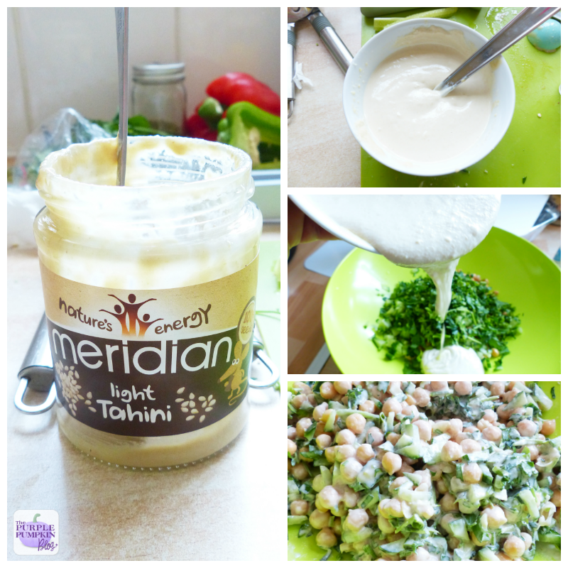 Chickpea + Cucumber #Salad with Tahini Dressing [#MorrisonsMum]