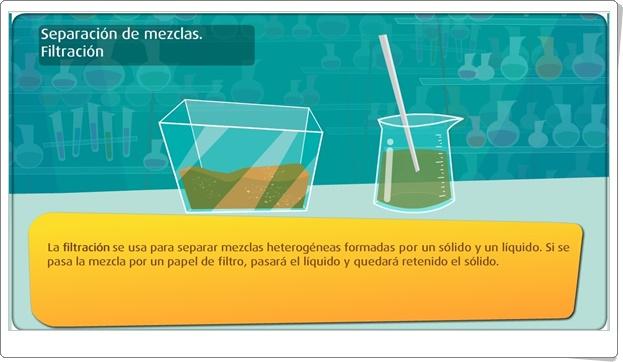 """""""Separación de mezclas"""" (Actividad interactiva de Ciencias Naturales de Primaria)"""