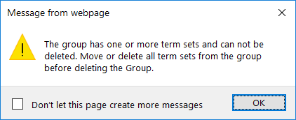 delete term group in sharepoint online term store