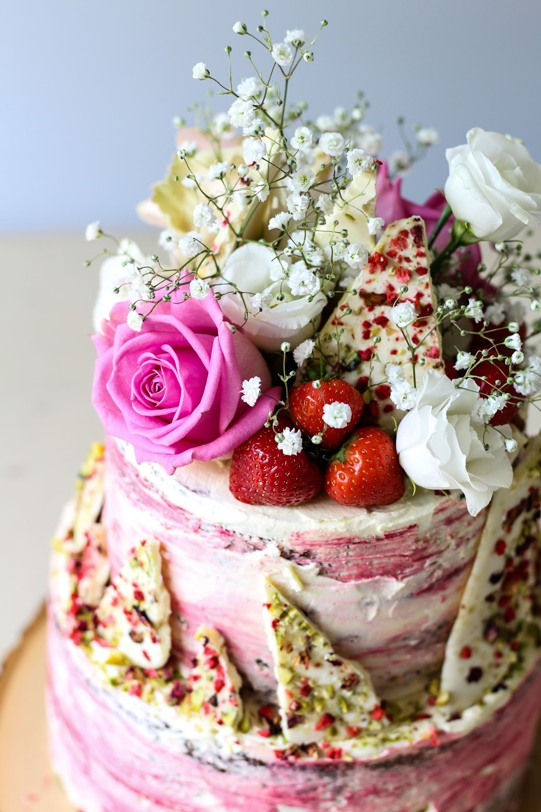 The Spoon And Whisk Strawberry White Chocolate And Pistachio Tier Cake