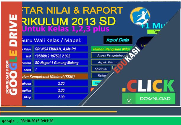 Aplikasi Raport dan Nilai Kurikulum 2013 SD Kelas 1,2,3,4,5,6 + Mulok dengan Microsoft Excel