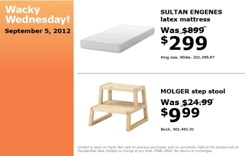 canadian daily deals ikea canada wacky wednesday deals specials sept 5 only. Black Bedroom Furniture Sets. Home Design Ideas