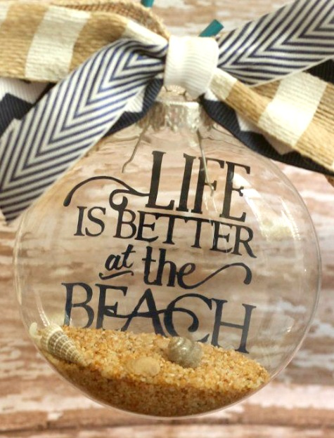 Vinyl Letter Beach Quote Ornament