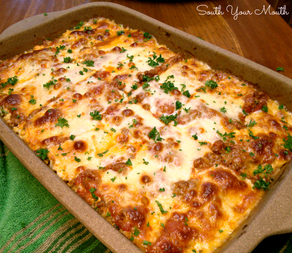An easy recipe for classic lasagna using prepared sauce and traditional ingredients. #easy #italian #lasagne #lasagna