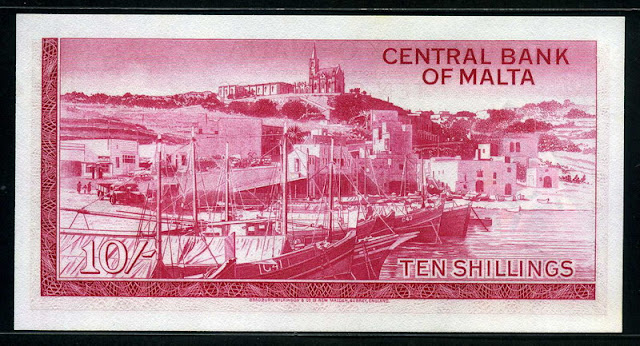 Malta currency 10 Shillings banknote Mgarr Harbor Gozo Valletta Malta