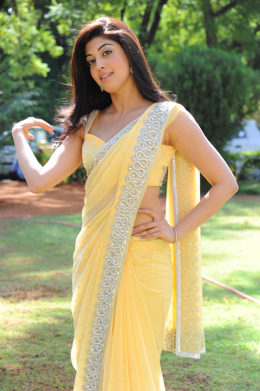 Actress Pranitha Hot In Yellow Saree Side South Actress Photos