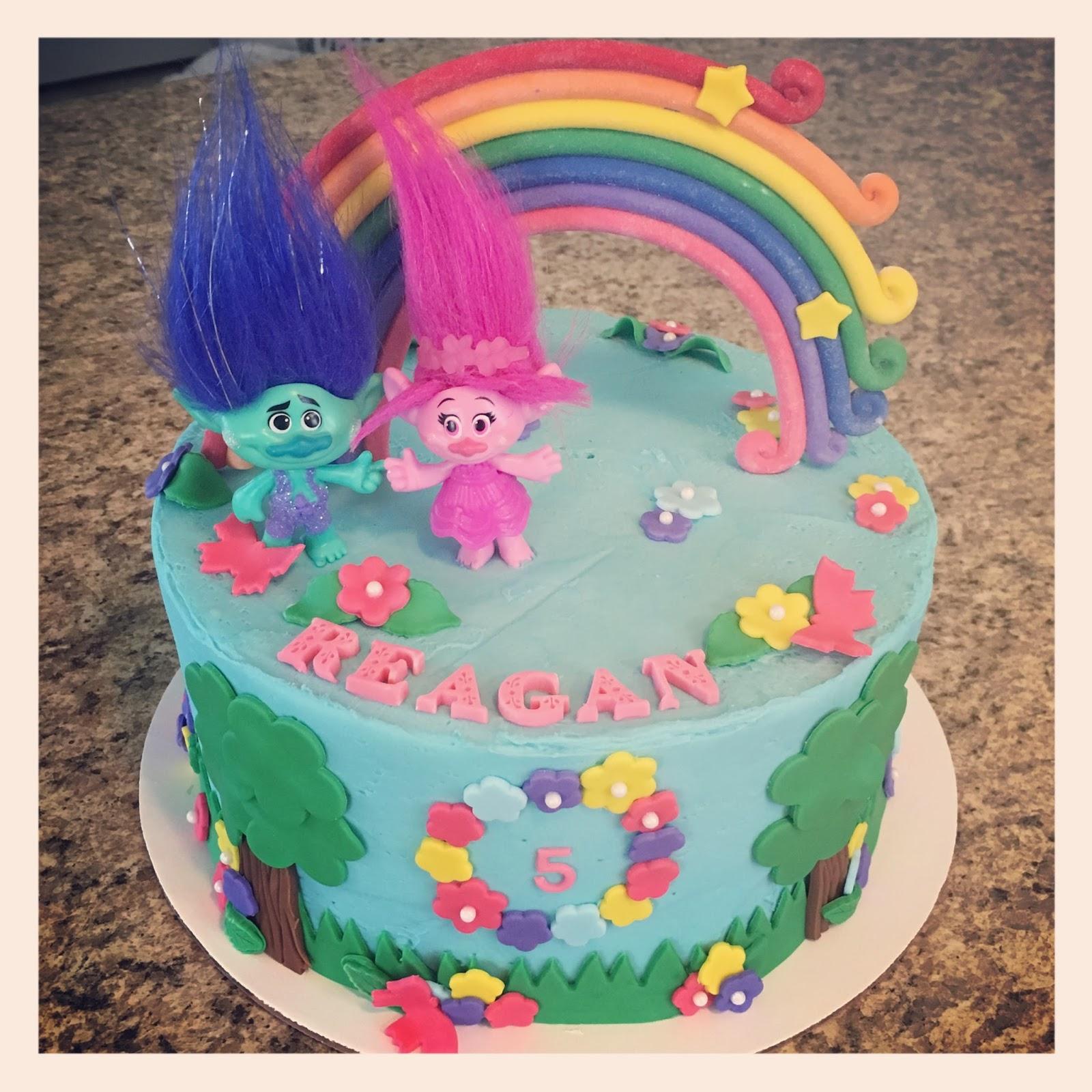 Simple Trolls Birthday Cake