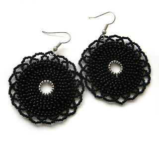black beaded earrings beadwork beads beaded jewelry goth