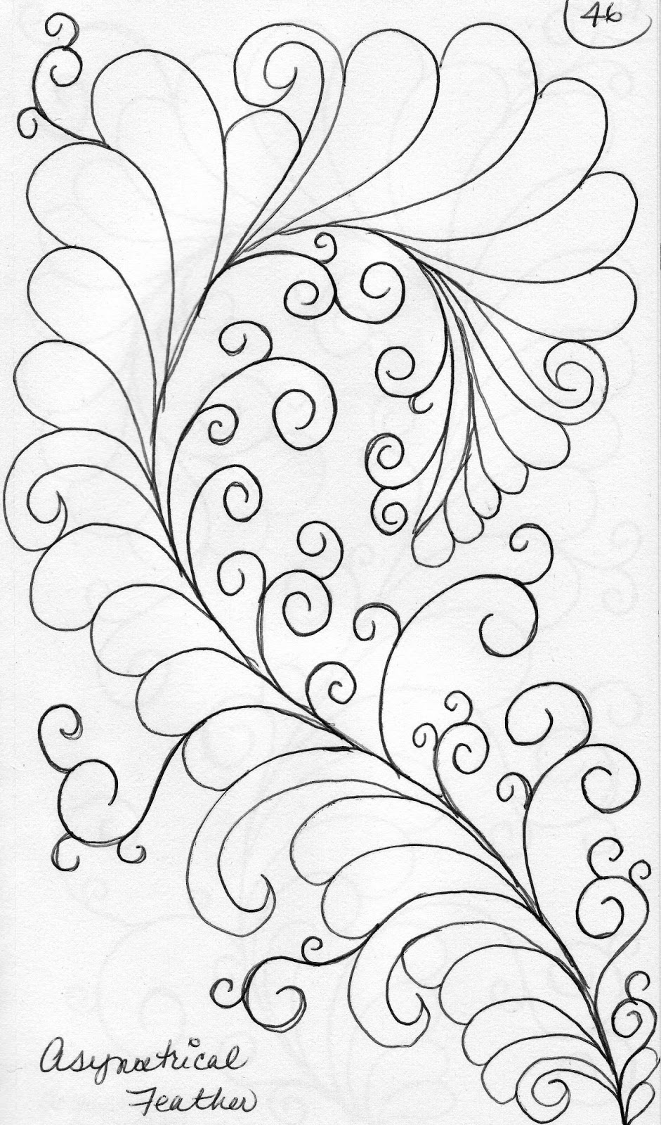 LuAnn Kessi: Quilting Sketch Book....Asymmetrical Feathers : feather quilting - Adamdwight.com
