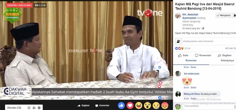 Aa Gym tayangkan video UAS dukung Prabowo