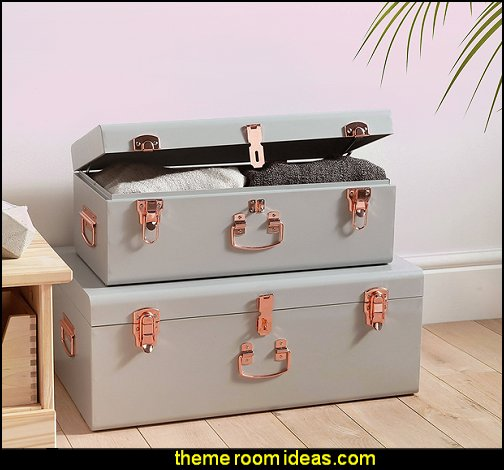 Gray Vintage Style Steel Metal Storage Trunk Set with Rose Gold Handles  Blush pink decorating - blush pink decor - blush and gold decor - blush pink and gold bedroom decor -  blush pink gold baby girl nursery furniture - blush art prints -