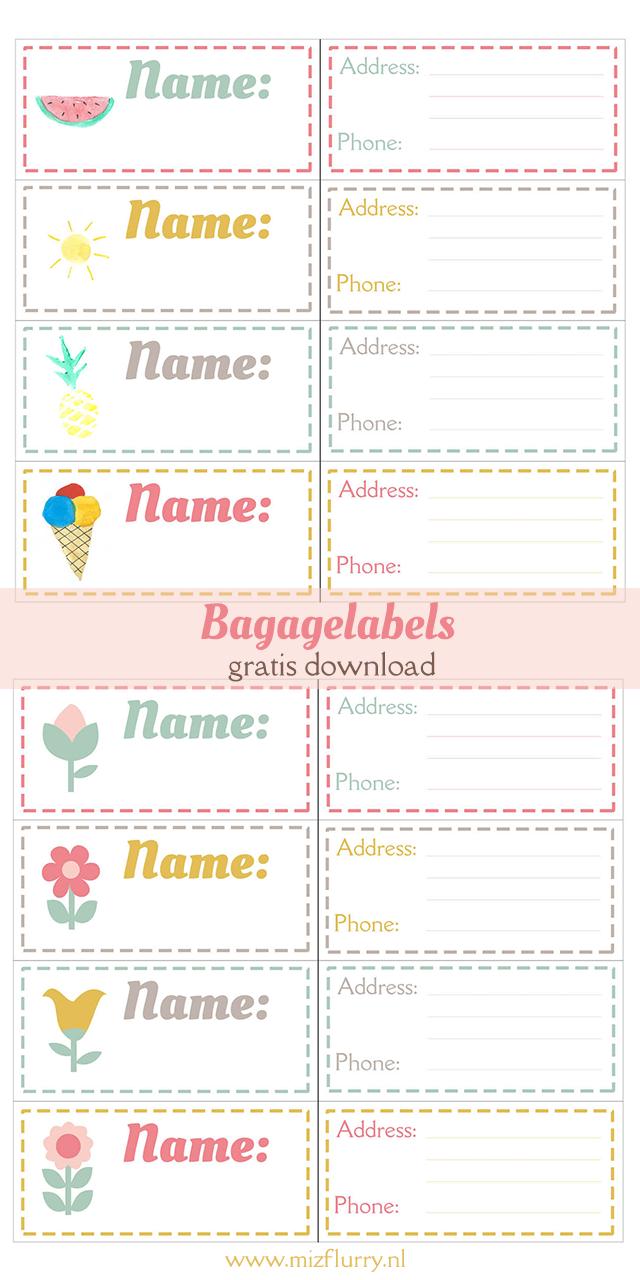 Uitzonderlijk Bagagelabels (gratis download) - MizFlurry @FO96