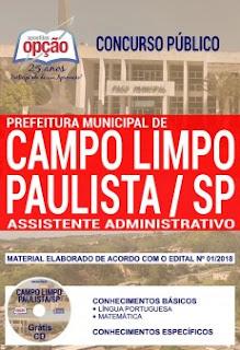 Baixar Apostila Concurso Campo Limpo Paulista 2018 PDF
