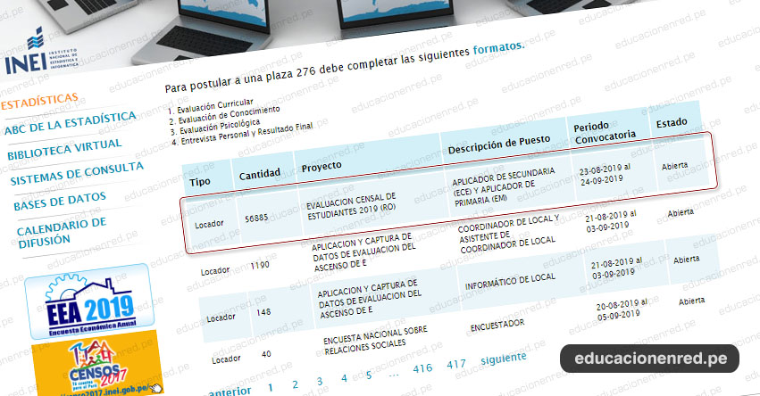 INEI - CONVOCATORIA 2019: 56 mil Aplicadores para Evaluación Censal de Estudiantes - Aplicador ECE - MINEDU (Inscripciones hasta el 24 Setiembre) Nivel Nacional - www.inei.gob.pe