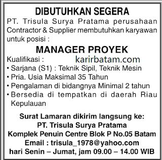 Lowongan Kerja PT. Trisula Surya Pratama