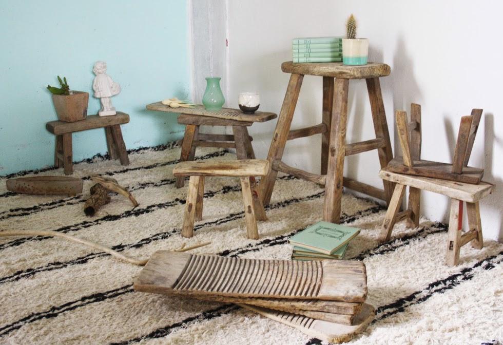 Tabouret vintage bois massif - deco scandinave - ©lovmint