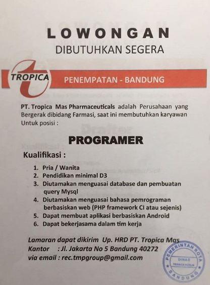 Loker PT. Tropica Mas Pharmaceutical