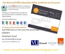 Free Microsoft Office Specialist (MOS) for Virtual University