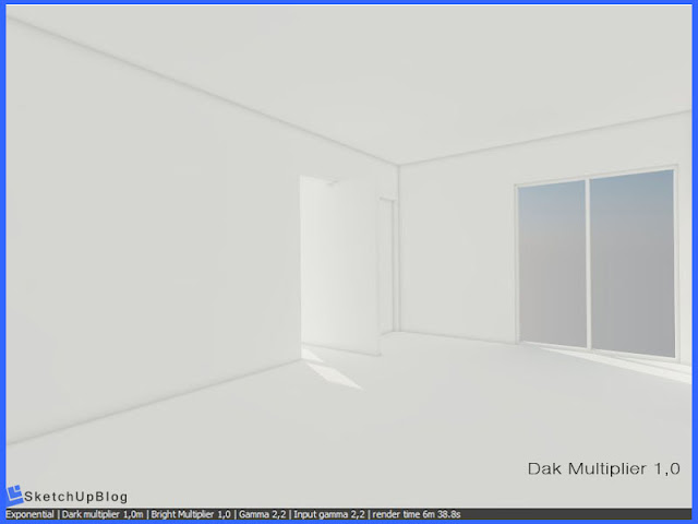 Cara setting Exponential Color Mapping vray sketchup 2.0 - Dark Multiplier 1,0