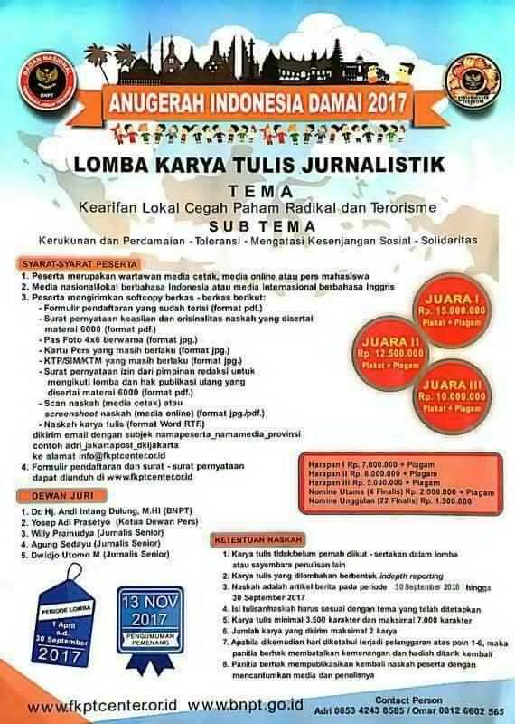 Berhadiah Puluhan Juta, BNPT Adakan Lomba Karya Jurnalistik