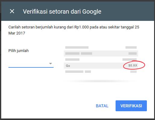 Verifikasi Rekening Bank Untuk Pembayaran Google Adsense