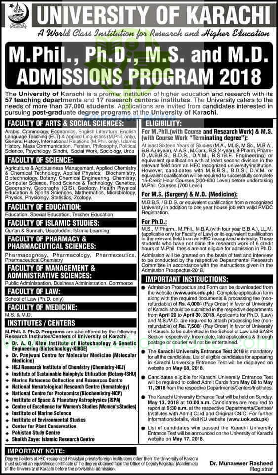 university of Karachi admission 2018, university of Karachi, university of Karachi admission and information, Eligibility Criteria, Important Instruction, For PhD, M.Phil, MS, MD Admission in Uok