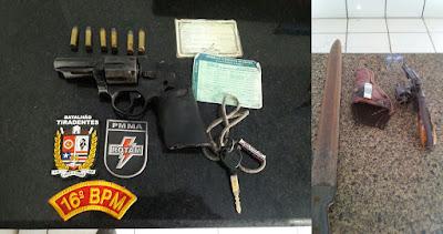 Duas armas de fogo e uma arma branca retirada de circulação