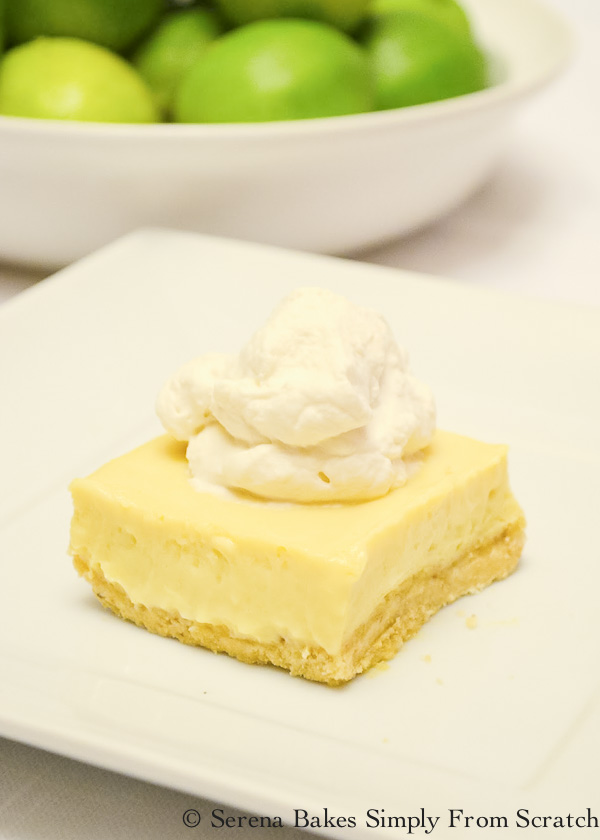 Key Lime Cheesecake Bars With Almond Cookie Crust are a favorite easy dessert recipe from Serena Bakes Simply From Scratch.