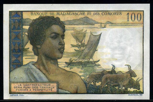 Comoros money 100 Comorian Francs banknote