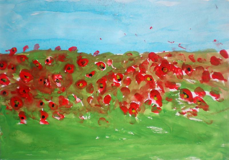 Câmpul cu maci - dactilopictură
