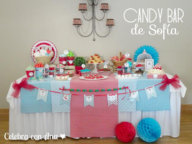 Candy Bar en rojo y turquesa