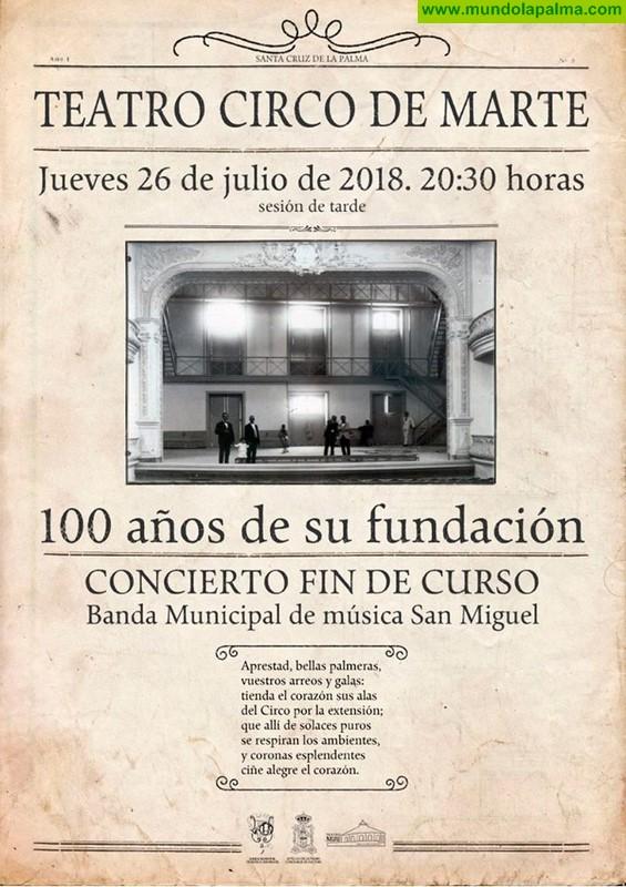 La Banda de Música San Miguel dedica su concierto de fin de temporada al centenario del Teatro Circo de Marte