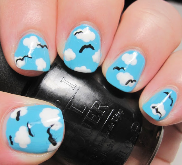 Illamasqua Serenity sky with Sally Hansen White Tip clouds and OPI Seagulls