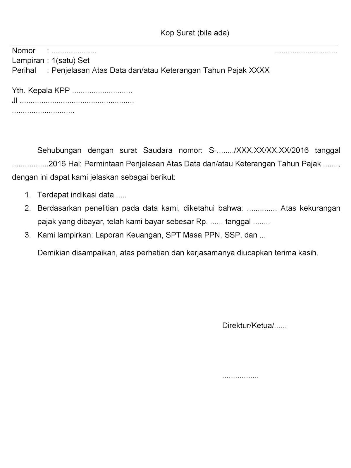 konsep jawaban surat permintaan data dan atau keterangan dari kantor pelayanan pajak