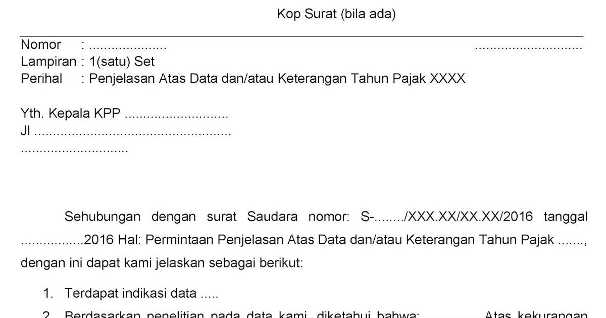Konsep Jawaban Surat Permintaan Data Dan Atau Keterangan Dari Kantor