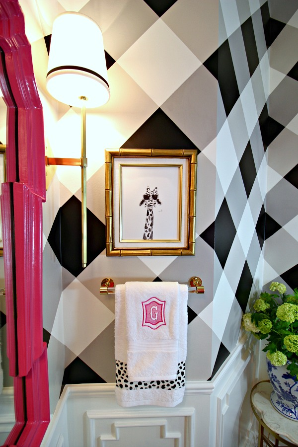 powder bath makeover, before and after, one room challenge, giraffe print, bamboo frame, gingham wall, monogrammed towel, brass sconce