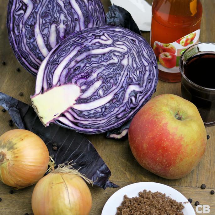 Ingrediënten voor rode kool met port en goudrenetten