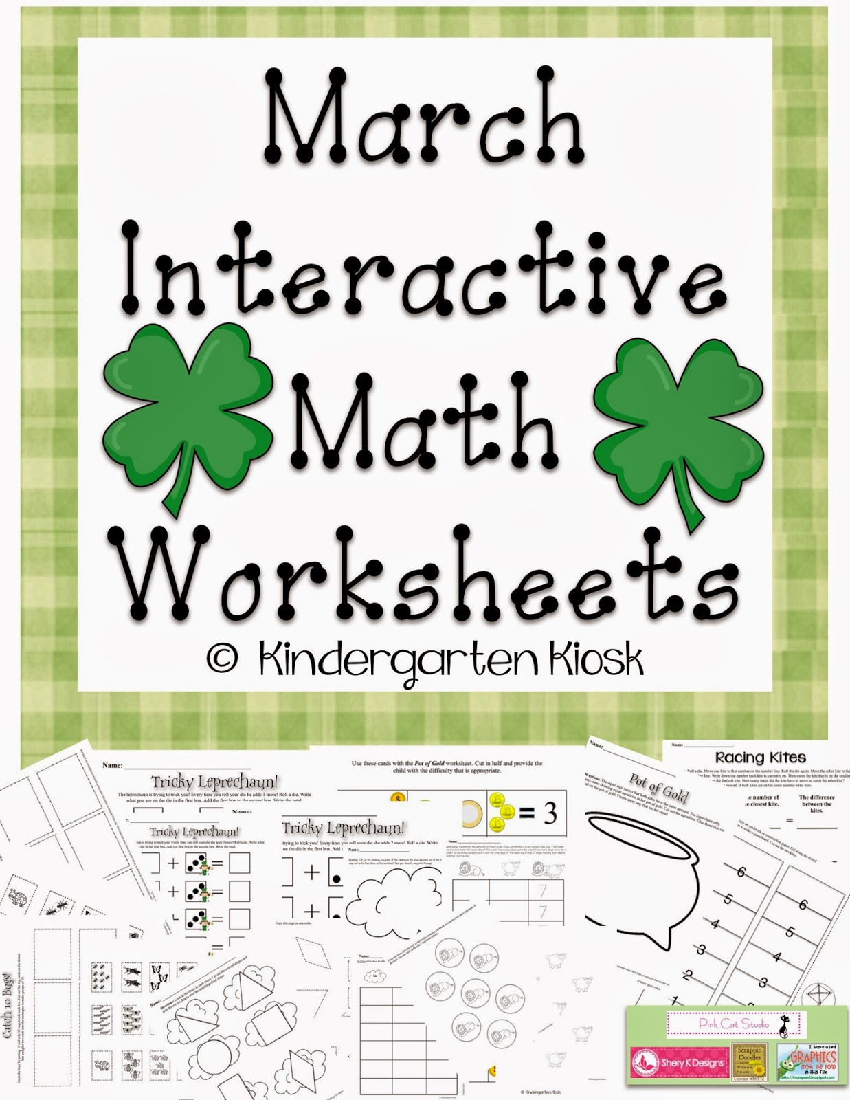 Kindergarten Kiosk March Math Worksheets