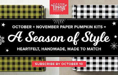 Stampin' Up! October and November Coordinating Paper Pumpkin Kits. Kay Kalthoff at Stamping to Share.